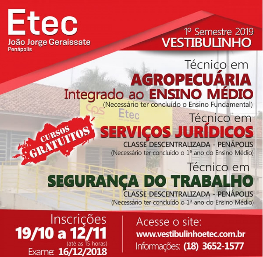 VESTIBULINHO DA ETEC COM INSCRIÇÕES ABERTAS !