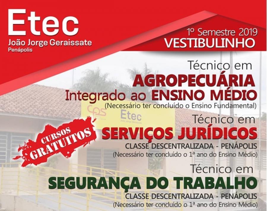 INSCRIÇÕES PRORROGADAS - VESTIBULINHO ETEC 1º SEMESTRE 2019 !!