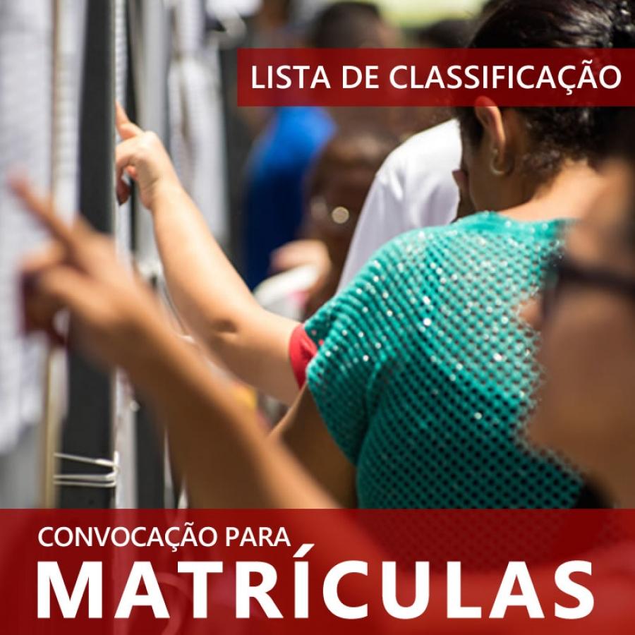 LISTA DE CLASSIFICAÇÃO DO VESTIBULINHO 1º SEMESTRE - 2019